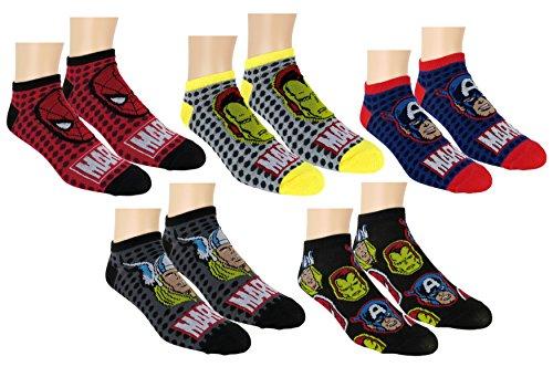 Marvel Avengers Mens 5pk No Show Socks