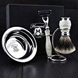 Men's Shaving Set In Ivory Colour ft Gillette Mach 3 Razor(Replaceable Head),Sliver Tip Badger Hair Brush, Dual Stand for Both Razor&Brush and Stainless Steel Bowl.Perfect 4 PCs Gift Kit for Him