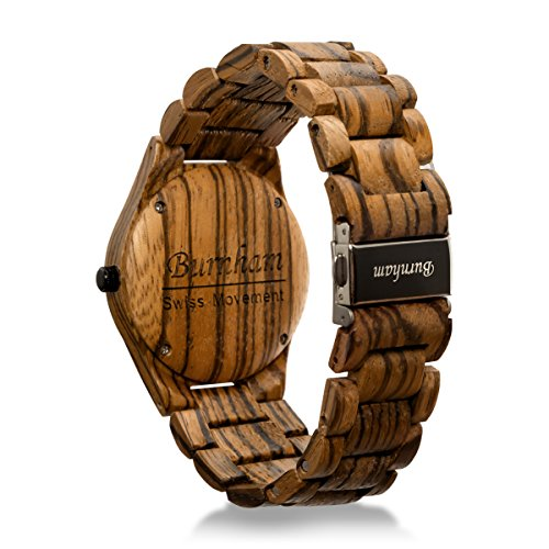 Burnham Wooden Watch - ARG001 Stylish Mens Wood Watches [Solid Natural Wood Grain] Upgraded Swiss Quartz Movement and Date [Easy set and adjust wood watch strap] Fine Crystal Face And Stainless Clasp by Burnham (Image #4)