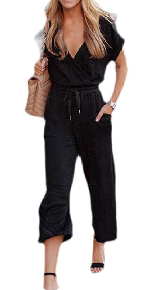 Zantt Womens Drawstring Waist V Neck Short Sleeve Wide Leg Jumpsuit Romper