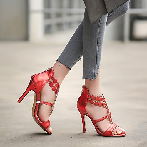 Nuevas con alto con sandalias tacón abiertas sandalias Red y cremallera ZHZNVX ZxwqdZ