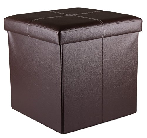 Premium Brown Faux Leather Folding Storage Ottoman Foot Rest - 15