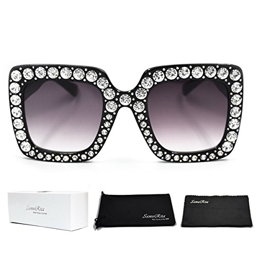 Swarovski Crystal Eyewear - SamuRita Elton Square Diamond Rhinestone Sunglasses Novelty Oversized Celebrity Shades(Black Frame/Black Gradient Lens)