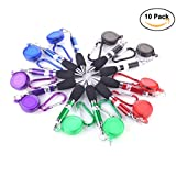 SunshineTrees 10pcs Retractable Pens Badge Reel Pen with Keychain Belt Clip Carabiner