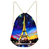 Instantarts Eiffel Tower Art Painting Galaxy String Bag Drawstring Backpack Sack Pack