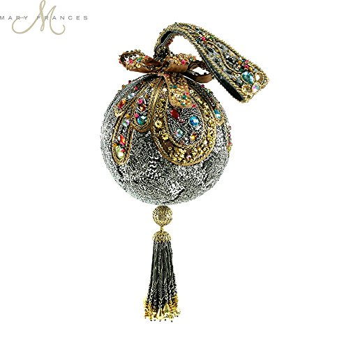 Mary Frances Adornment Hand Beaded Jeweled 3D Ribbon Christmas Holiday Ornament Handbag Wristlet by Mary Frances
