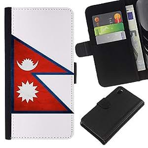 Leather Etui en cuir    Sony Xperia Z3 D6603    Nacional bandera de la nación País Nepal @XPTECH