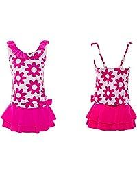 QRH Girls Solid Splice Cross-Back Two- Piece Modest Swimsuit