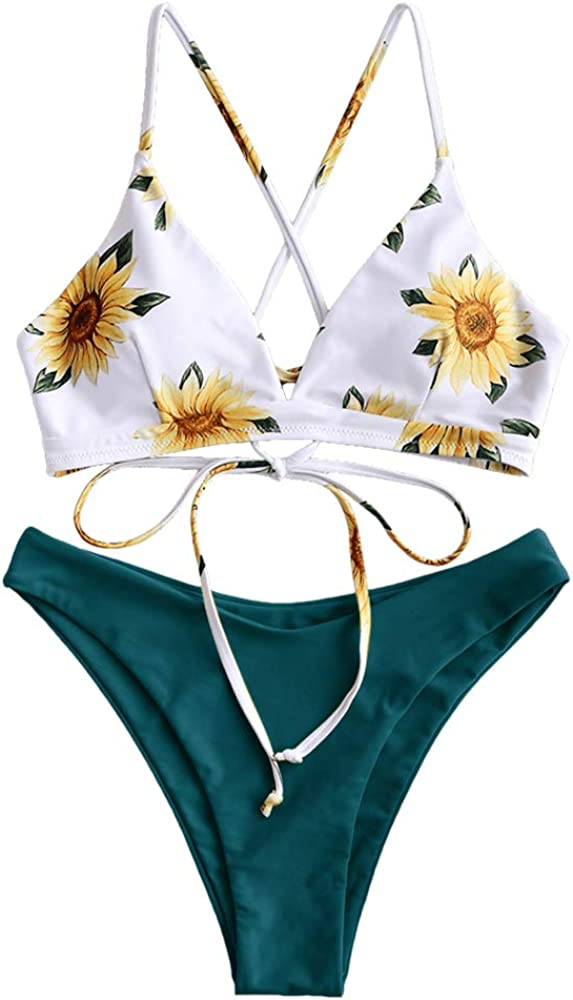ZAFUL Women Braided Straps Lace Up Bikini Set Bralette Swimsuit Flower Bathing Suit