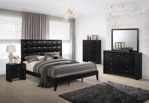 Roundhill Furniture Gloria  Black Finish Wood Bed Room Set