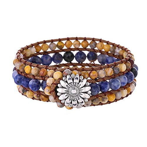 IUNIQUEEN Boho Handmade Natural Stone Bead 3 Row Wide Wrap Wrist Statment Bracelet Jewelry - Lace Agate Meaning Blue