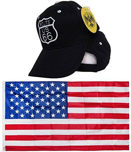 Black and White US Route Rte 66  Embroidered Hat Cap & USA F