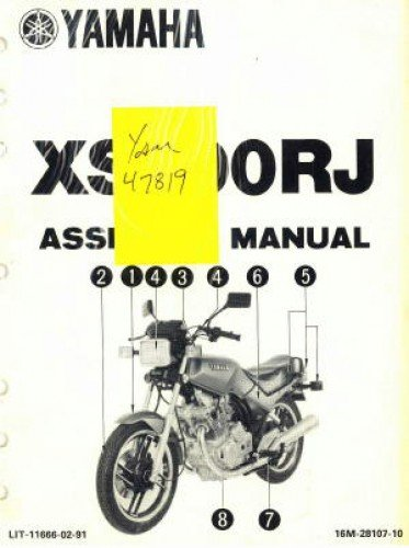 (LIT-11666-02-91 1982 Yamaha XS400RJ Seca Motorcycle Assembly Manual)