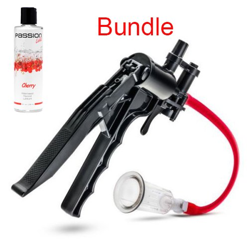 Pleasure Pump (Nipple Clitoral Clitoris Pleasure and Enhancement Pump System AND Flavored Personal Lubricant Edible Oral Sex Massage Oil anal cherry Bundle)