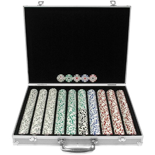 Trademark 1000 Chip 11.5g High Roller Set with Aluminum Case (Silver)