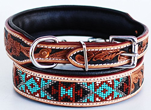 Medium 17''-21'' Amish Made 100% Cow Leather Hand Tooled Puppy Dog Collar 6064TL