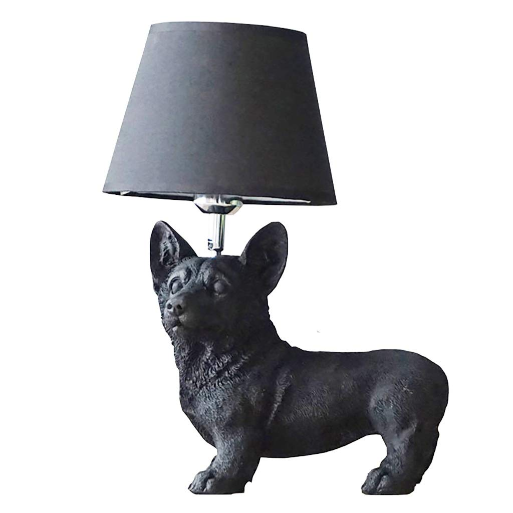 Black Puppy Table Lamp Living Room Study Bedroom Bedside Table Children's Room Creative Decoration Small Table Lamp Desktop Light