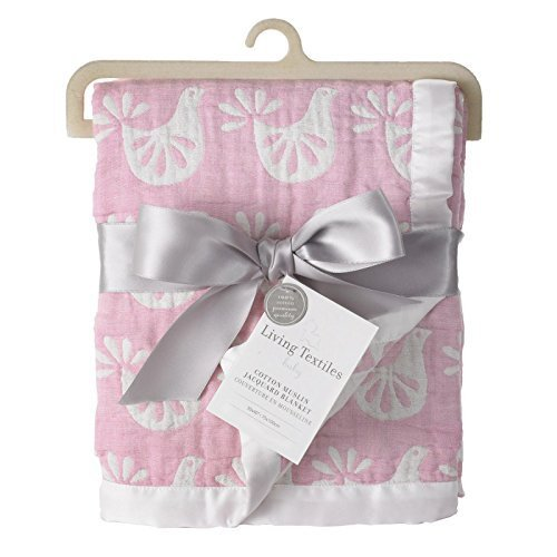 Living Textiles Muslin Jacquard Baby Blanket With Pink & White Birds. Double-Layered Muslin Jacquard 100% Cotton Blanket (40×30 inch) For Sale