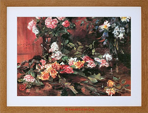 PAINTING CORINTH ROSES TWO OLD MASTER FRAMED PICTURE ART PRINT F97X8348