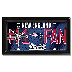 New England Patriots #1 Fan License Plate Wall Clock