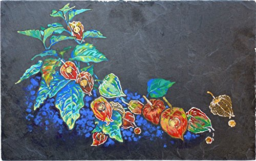 Original, hand painted unique piece, Floral painting on used slate – Phytalis -