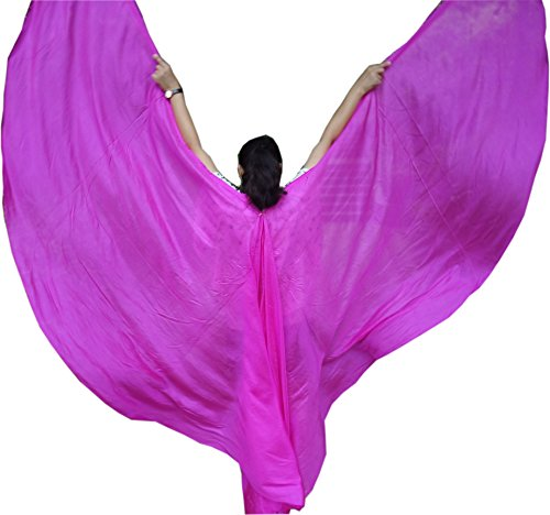 Winged Sirenny 1pair(2pcs Double Veils) 6mm Habotai Women's Belly Dance Silk Wing (pink) (Dance Worship Costumes)
