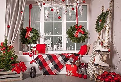Indoor Christmas Decorations.Amazon Com Leowefowa Vinyl 8x6 5ft Merry Christmas