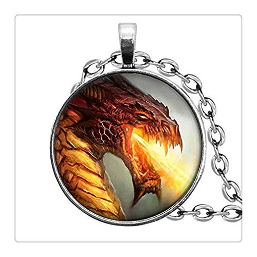 Sunshine Fire Breathing Dragon Jewelry, Pendant Necklace, Dome Glass Ornaments, Gifts for - Breathing Pendant Fire Dragon