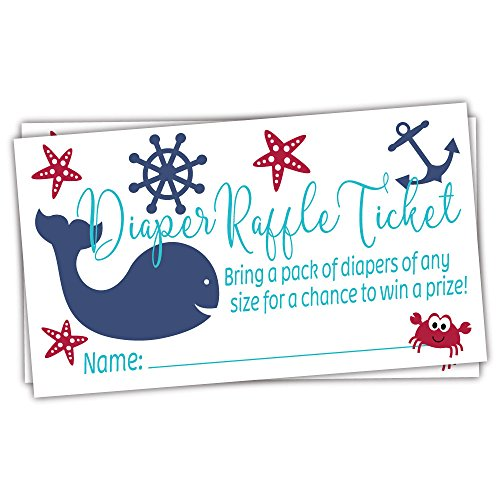 Nautical Diaper Raffle Tickets (50 Count) - Under the Sea Baby Shower -
