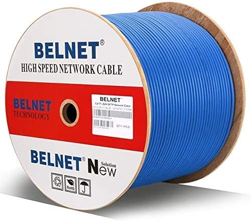 Computer Cables BELNET Engineering CAT7 Double Shielded 10G Network Cable SFTP OFC Pure Copper Twisted Pair RJ45 Box line Full HD Computer Cable Cable Length: 2m, Color: Blue