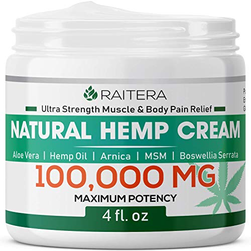 Raitera Hemp Cream for Pain Relief 100000MG, Pure Hemp Oil Extract, MSM, Arnica - Natural Ingredients - Max Strength Balm for Relief Arthritis, Carpal Tunnel, Back, Joint, Nerve, Fibromyalgia