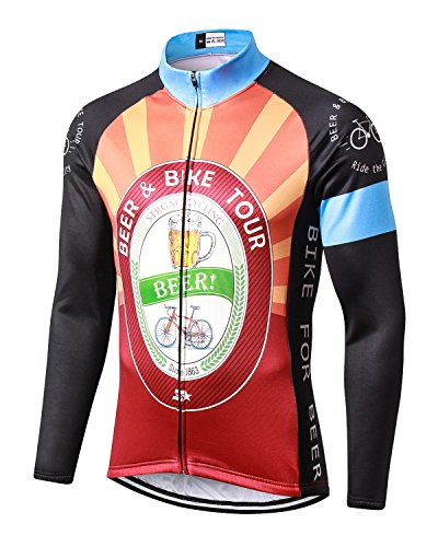 Winter Cycling Jersey - MR Strgao Men's Cycling Winter Thermal Jacket Windproof Long Sleeves Bike Jersey Bicycle Coat Size M