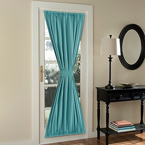 FlamingoP French Door Curtains,Solid Blackout Rod Pocket, Single Panel, 54 x 72 Inches, Aqua (Door Curtain Panels Solid compare prices)