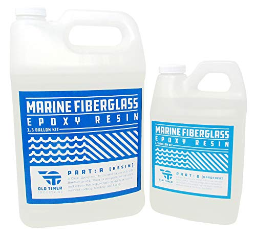 Epoxy Resin Polyester (Crystal Clear Marine Epoxy Resin 1.5 Gal Kit. High-Strength Fiberglass Epoxy from Old Timer Industries)