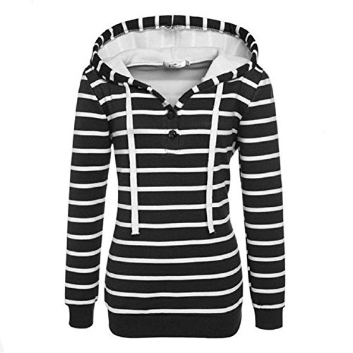 Stripe Hoodie Womens, Misaky Loose Long Sleeve Sweatshirt Jumper Pullover Coat (S, Black) (Waterfall Switchback)