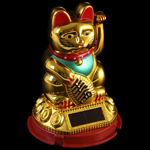 Hunky Dory Gifts Lucky Waving Solar Powered Cat Chinese Oriental Fortune Golden Effect Car Window