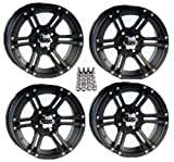 ITP SS212 ATV Wheels/Rims Black 12'' Honda Foreman Rancher SRA Solid Axle (4)