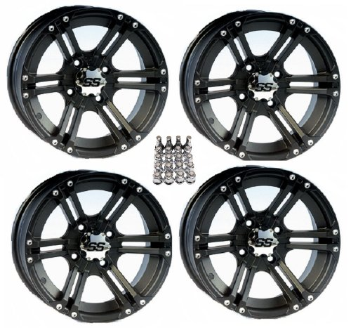 ITP SS212 ATV Wheels/Rims Black 12'' Honda Foreman Rancher SRA Solid Axle (4) by Powersports Bundle