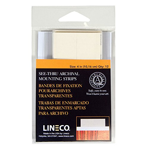 Lineco See-Thru Polyester Mounting Strips, 4 inches, Package of 12 (L533-4015M)