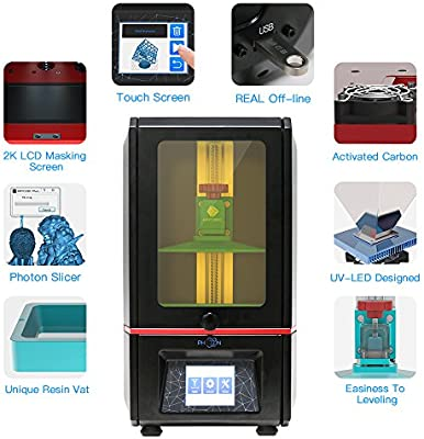 ANYCUBIC PHOTON Impresora LCD SLA Luz UV 3D Montada con Pantalla Táctil de color de 2,8 Tamaño de impresión 115mm (X) x 65mm (Y) x 155mm (Z)