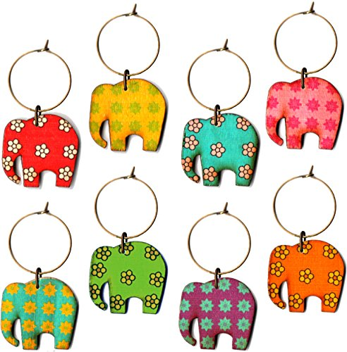 [Elephant Wine Charms Set of 8 Complete with Antique Brass Rings and Colorful Painted Pachyderms in a Red Striped Tribal Bag to Welcome Your Guests and Lend an Air of Whimsy] (Brass Elephant Charm)