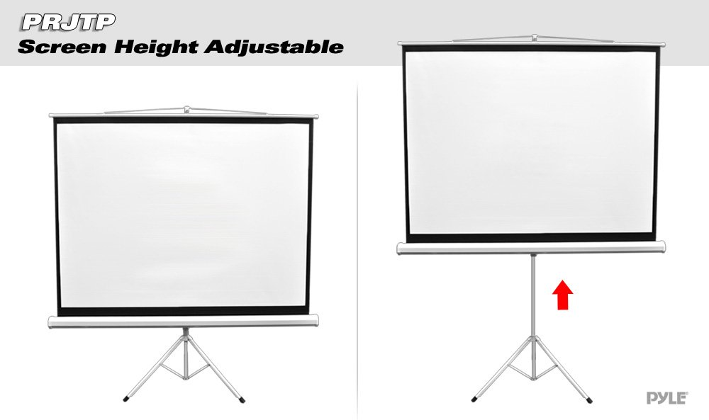 Upgraded Pyle 100'' Projector Screen with Floor Standing Portable Fold-Out Roll-Up Tripod Manual, Mobile Movie Screen, Home Theater Cinema Wedding Party Office Presentation, Quick Assembly (PRJTP100) by Pyle