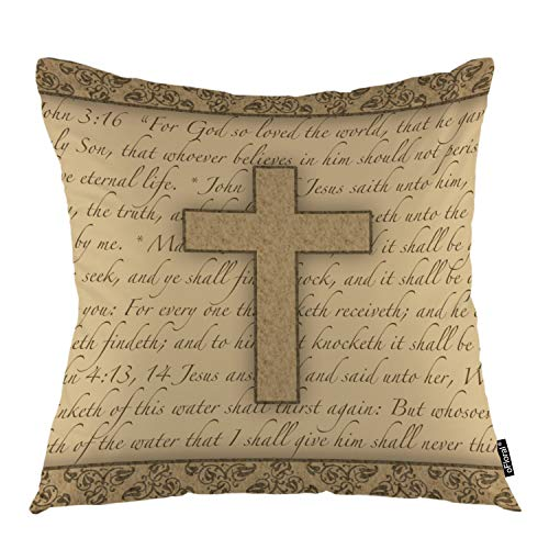 "oFloral Cross Throw Pillow Covers Jesus Bible Religious Calligraphic Letter Gospel Quote Decorative Square Pillow Case 18""X18"" Pillowcase Home Decor for Sofa Bedroom Livingroom"