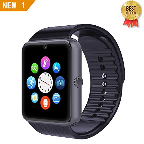 LEMFO GT08 Bluetooth Smart Watch Support SIM & TF Card Phone Smartwatch Notification Reminder Sleep Monitor Fitness Wristwatch for IOS Android (Black)