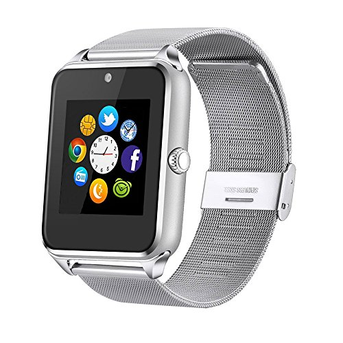 MSRM Replaceable Band Bluetooth Smart Watch Call Sync and Handfree Support Android 4.2 or abouve and Iphone5s/6/6s/7/7s (Silver)
