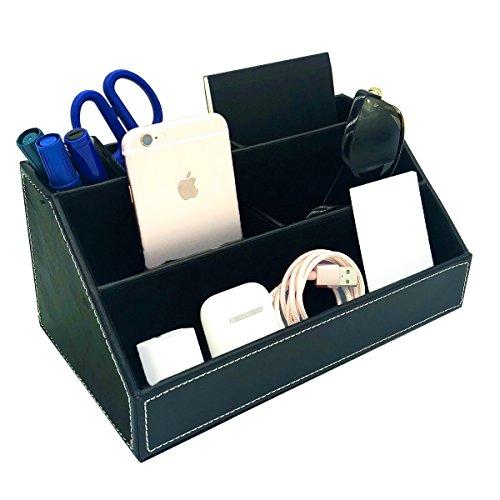 UnionBasic 5-Compartment Desk Organizer - Multifunctional Desktop Card/Pen/Pencil/Mobile Phone Office Supplies Holder Display Box (Black - (Multi Functional Desktop Organizer)