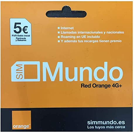 Orange Tarjeta Sim España Mundo Prepago 5 Euro: Amazon.es: Electrónica