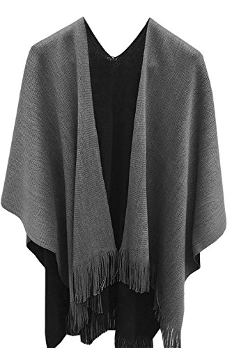 Timemory Womens Winter Solid Knitted Cashmere Poncho Capes Shawl Sweater Gray Gray One ()