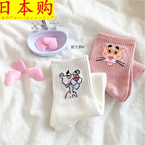 Japanese style cartoon couple purchased Socks College wave of cute socks pure cotton socks Pink Panther