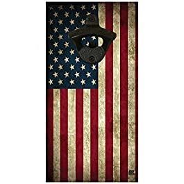 USA United States or America Flag Wall Mounted Wood Beer Bottle Opener Makes a Great Gift Patriotic Distressed Tattered…